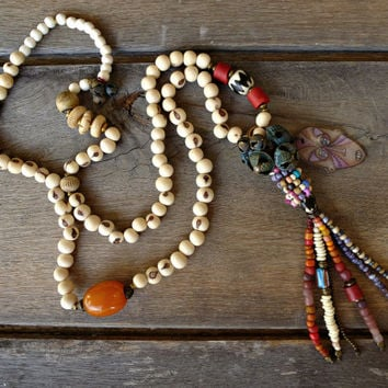 Gypsy, hippie, Boho necklace, Bohemian, Rustic layering necklace, long, beaded necklace, Trade bead necklace, Bell, beaded tassel necklace.