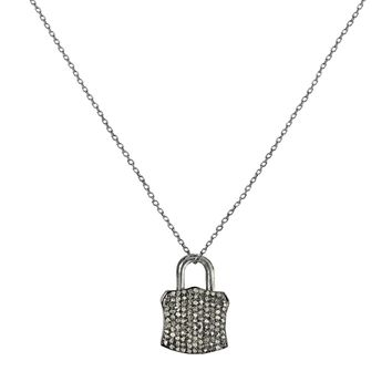 1.00ct Micro Pavé Diamonds in 925 Sterling Silver Padlock Pendant Necklace