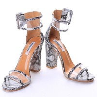Transparent Buckle Strap Thick Heel Women Sandals