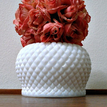 Westmoreland English Hobnail Milk Glass Vase Small Rose Bowl White