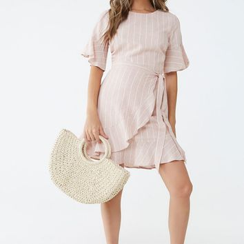 Striped Flounce Wrap-Front Dress