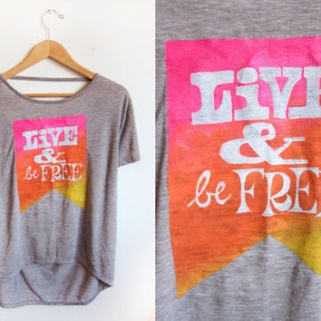LIVE & Be FREE Pennant Banner Hand Stenciled by twostringjane