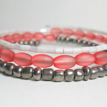 Bohemian Wrap Bracelet Pink and Grey Memory Wire Bracelet