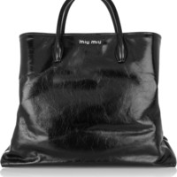 Miu Miu | Cracked glossed-leather tote | NET-A-PORTER.COM