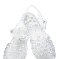 BC Footwear 90s Totally Jelly Sandal in Clear Sparkle