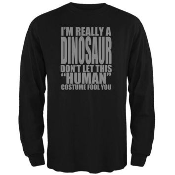 LMFCY8 Halloween Human Dinosaur Costume Mens Long Sleeve T Shirt