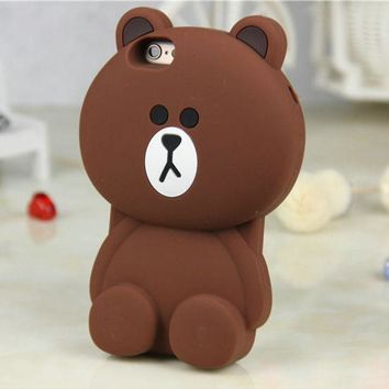 ONETOW 2016 Newest Lovely 3D Cute Soft Silicone Teddy Bear Back Case Cover For iphone 7 7plus 6 6S 6+ iphone6 plus 5 5S