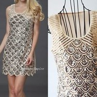Art Deco Style Opulence Sequins Mermaid Flapper Scallop Charleston Dress