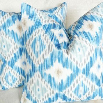 SUMMER SALE Blue Ikat Pillows 18x18 by PillowThrowDecor on Etsy