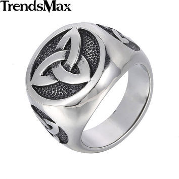 Trendsmax 24mm Vintage Engraved Knot Mens Black Silver Tone Signet Ring 316L Stainless Steel Ring