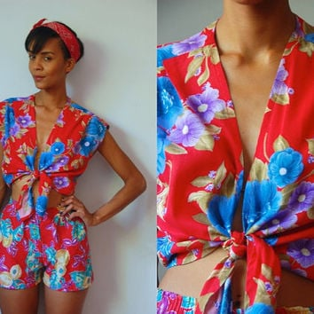 Vtg 2 Piece Tropical Floral Red Crop Tie Top & Shorts