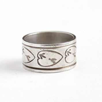 Vintage Cigar Band - Sterling Silver Wide Heart & Arrow Eternity Ring - Size 5 Retro 1950s Stacking Statement Mid Century Jewelry