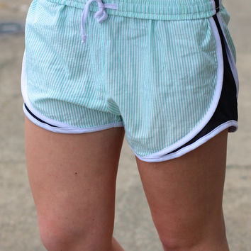 Seersucker Running Shorts {Mint + Navy}