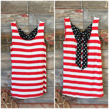 Liberty Bow Back Top: Red