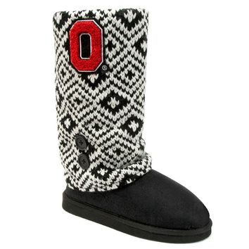 Ohio State Buckeyes Sweater-Knit Microsuede Boot Slippers
