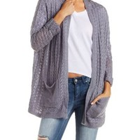 Med. Gray Heather Slouchy Cardigan by Charlotte Russe