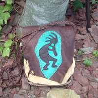 Leather Possibles Bag or Purse with a Kokopelli design on the front