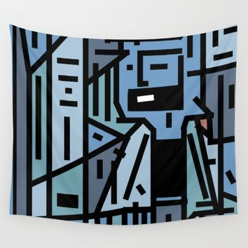 The sad hipster and the cooper mosquito Wall Tapestry by Barruf Designs