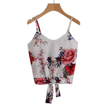 2018 Fashion Women Floral Print Camisole Vest Summer Ladies Sexy Bowknot Backless Crop Tops Girls Boho Casual Shirts Camis #YL
