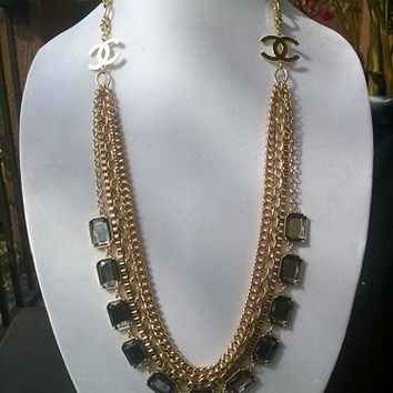 Stunning Avant-Garde Designer Inspired Runway Chain Necklace