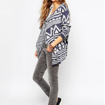 Loose Print Knit Sweater Cardigan