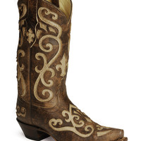Tony Lama 100% Vaquero Cream Inlay Cowgirl Boots - Sheplers
