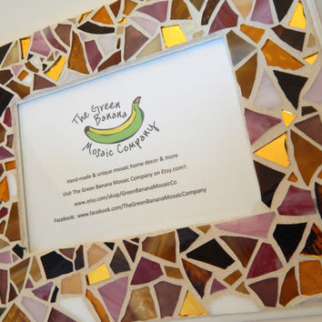 """Mosaic Picture Frame,  5"""" x 7"""" Picture Size, Pinks + Browns + Gold Mirror, Handmade Stained Glass Mosaic Design, Hangs Vertical/Horizontal"""
