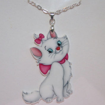 Children's Marie aristocats resin planar or enamel necklace
