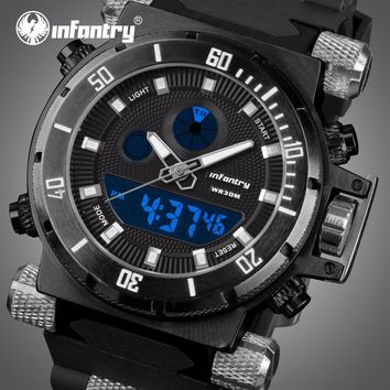 Men Sport Watches INFANTRY Brand LED Display Analog Digital Watches Male Clocks Waterproof Chronograph Quartz Wristwatches