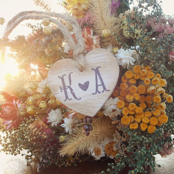 Heart Bouquet Charm With Initials Wedding Bouquet Charm Rustic Wedding Flower Bouquet Charm Heart Bouquet Charm Country Wedding Camo Wedding