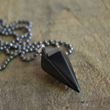 Men's Style Necklace- Black Onyx Point Necklace For Men, Men's Jewelry, Layered Necklace, Metal, Rough, Man Necklace, Accessories Men