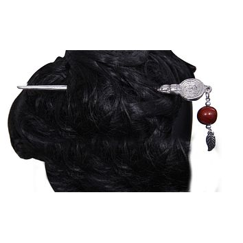 Women's Antique Silver Colour Bead Hair Clasp Design Hair Pin Stick With Tassel for Long Hair