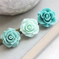 Aqua Mint Rose Bobby Pins Teal Flowers For Hair Floral Hair Pins Flower Girls Hair Clips Vintage Style Cameo Set of Three (3)