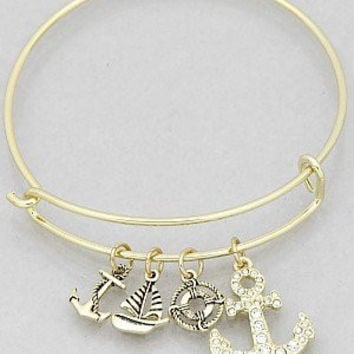 Womens Jewelry, Crystal Anchor Hook Sailboat Buoy Bangle Bracelets Color : Gold Size : Diameter:2.25inch