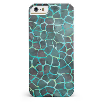 Blue-Green and Black Watercolor Giraffe Pattern iPhone 5/5s or SE INK-Fuzed Case