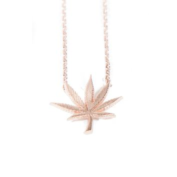 Cannabis Couture Pot Leaf Necklace- Rose Gold!
