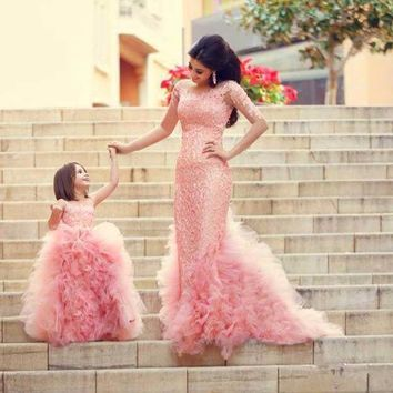 Mother and Daughter Dress Family matching wedding Maxi Tutu Dress Girls Clothes Summer Dresses Party