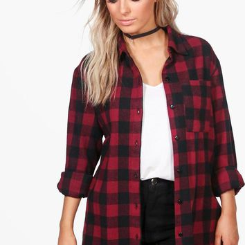 Violet Oversized Checked Shirt | Boohoo