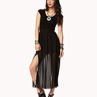 FOREVER 21 Double-Slit Maxi Dress Black/Black Medium