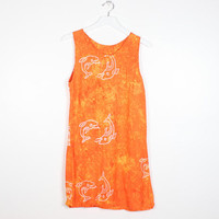 Vintage Tie Dye Dress Bright Orange Yellow DOLPHIN Fish Batik Print Tie Dyed Sundress 1990s Dress Soft Grunge Dress 90s Mini Dress S Small