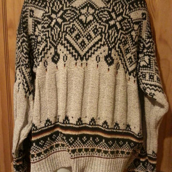 Vintage 80s slouchy oversized Mens Hampton Bay Trading Co. Nordic Sweater Size Large