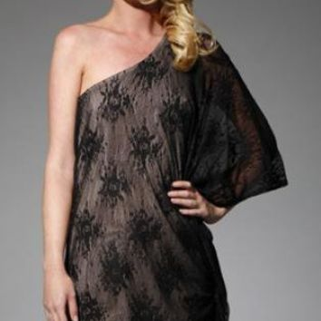 Black One Shoulder Lace Mini Dress with Batwing Sleeve