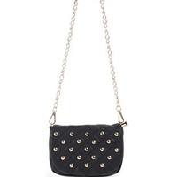 Fold Over Crossbody Bag with Stud Accents and Tassel