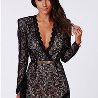 Black V-Neck Scalloped Trim Lace Wrap over Mini Dress with Gold Belt Attached