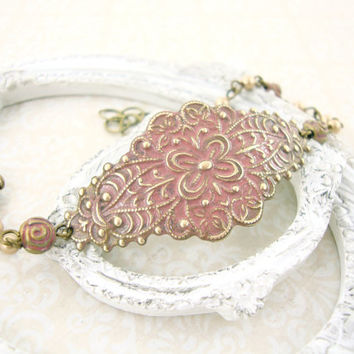 Dusty Pink Victorian Bracelet - Pink Shabby Chic Jewelry - Antique Brass Victorian Wedding Jewelry Pink and Gold Dusty Rose Patina Jewelry