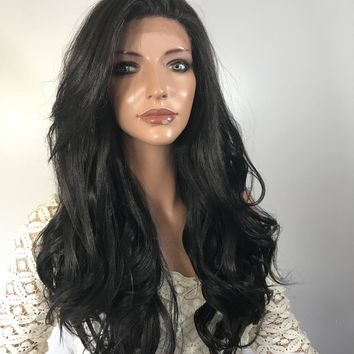 Jet Black Loose Curl  Human Hair Blend Multi Parting lace front wig 22'