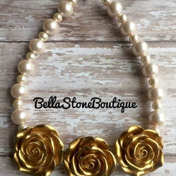 Princess gold rose light pink pearl chunky necklace and pearl gold crown clip set.RTS.FASTSHIP! Baby,Toddler, Girl