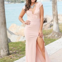 Blush Lace Top Maxi Dress with Side Slit