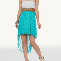Belted Ponte Tube Lace High Low Dress