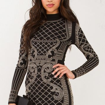 Studded Long Sleeve Dress in Black Gold